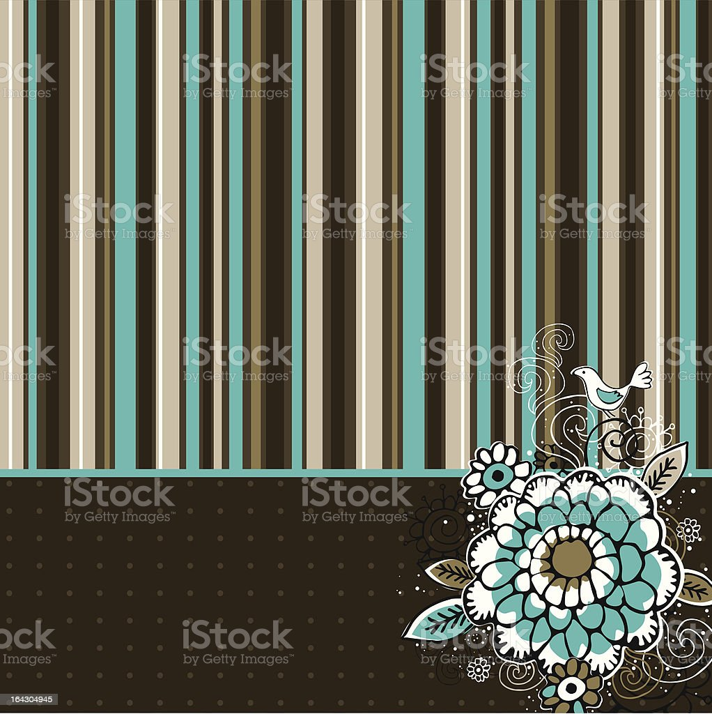 hand draw  flowers on striped background royalty-free stock vector art
