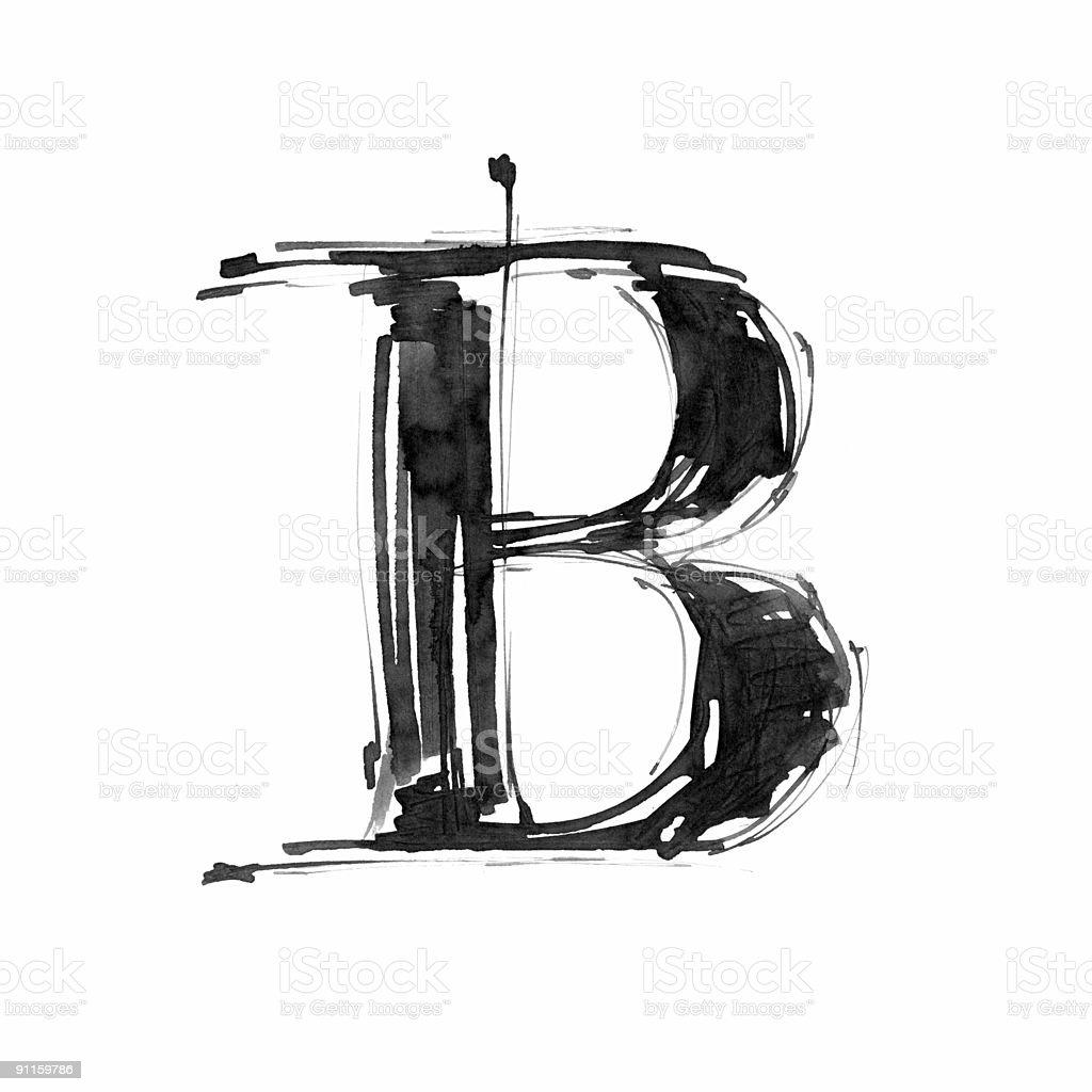 Hand draw letter B vector art illustration