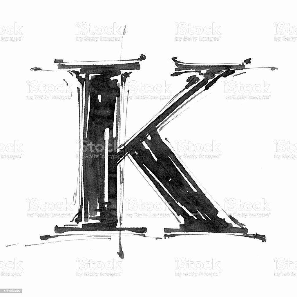 Hand draw letter K vector art illustration