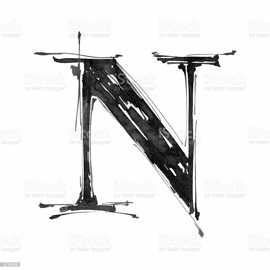 Hand draw letter N vector art illustration