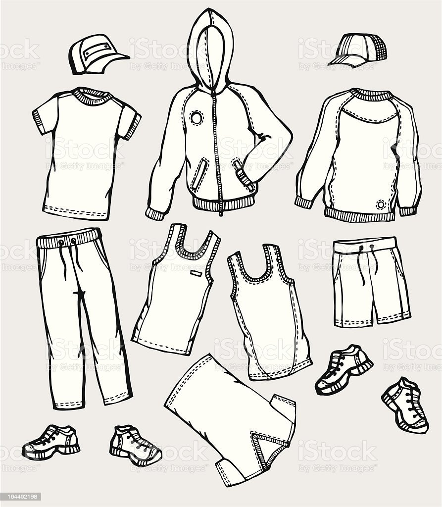 Hand draw sketch of active wear royalty-free stock vector art