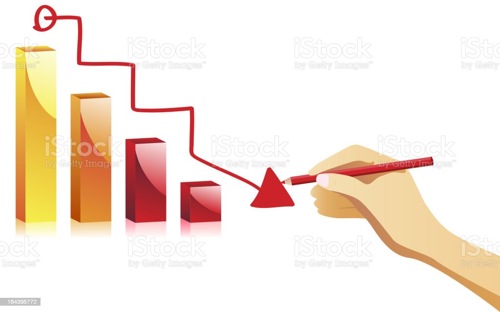 Hand drawing a failure chart. royalty-free stock vector art