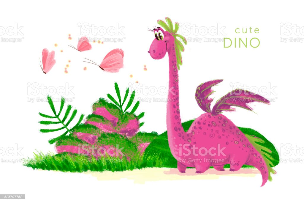 Hand drawn artistic funny dinosaur portrait with nature elements isolated on white background. Friendly animal character design. Children book illustration. vector art illustration