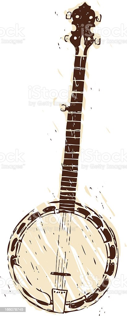 hand drawn banjo royalty-free stock vector art
