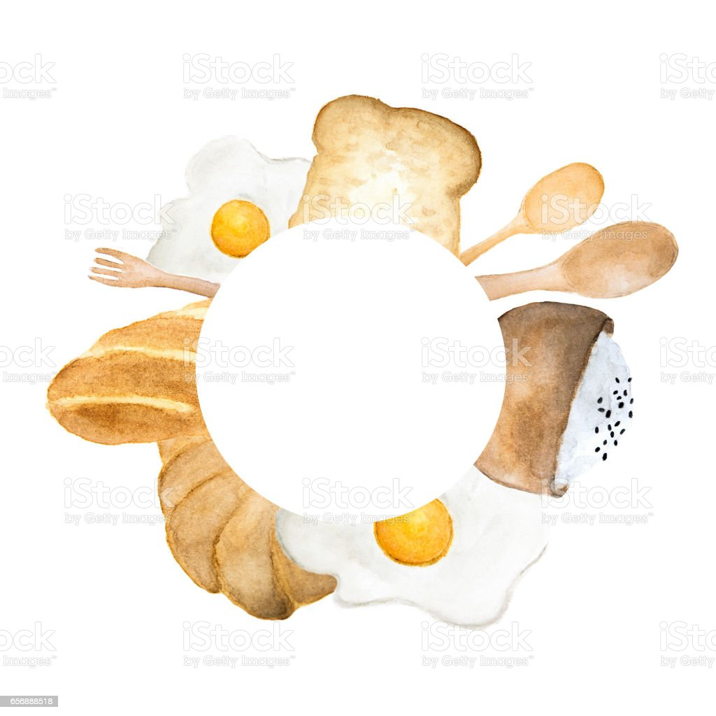 Hand drawn breakfast circle frame illustration. Bread, fried egg and rice in bowl drawing vector art illustration