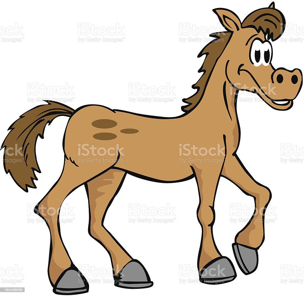 hand drawn cartoon horse isolated on white royalty-free stock vector art