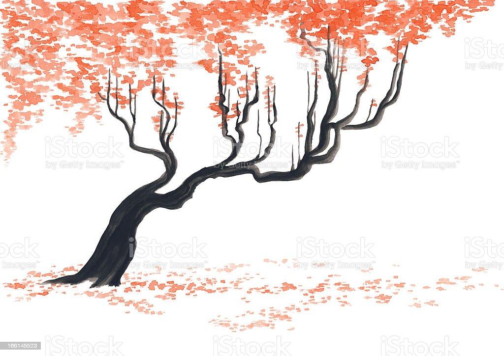 Hand drawn cherry tree royalty-free stock vector art