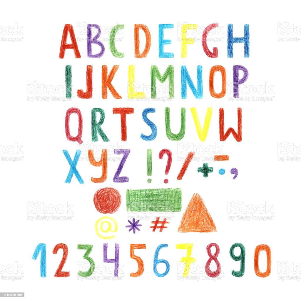 Hand drawn colorful letters, alphabet, numbers stock photo