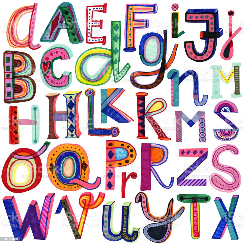 Hand drawn colourful alphabet vector art illustration