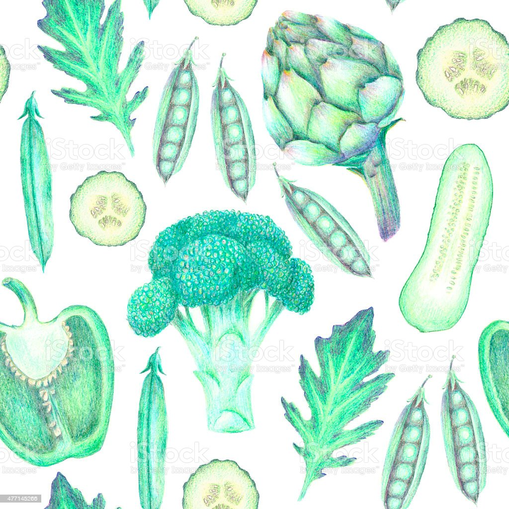 Hand drawn cute green vegetable seamless pattern vector art illustration