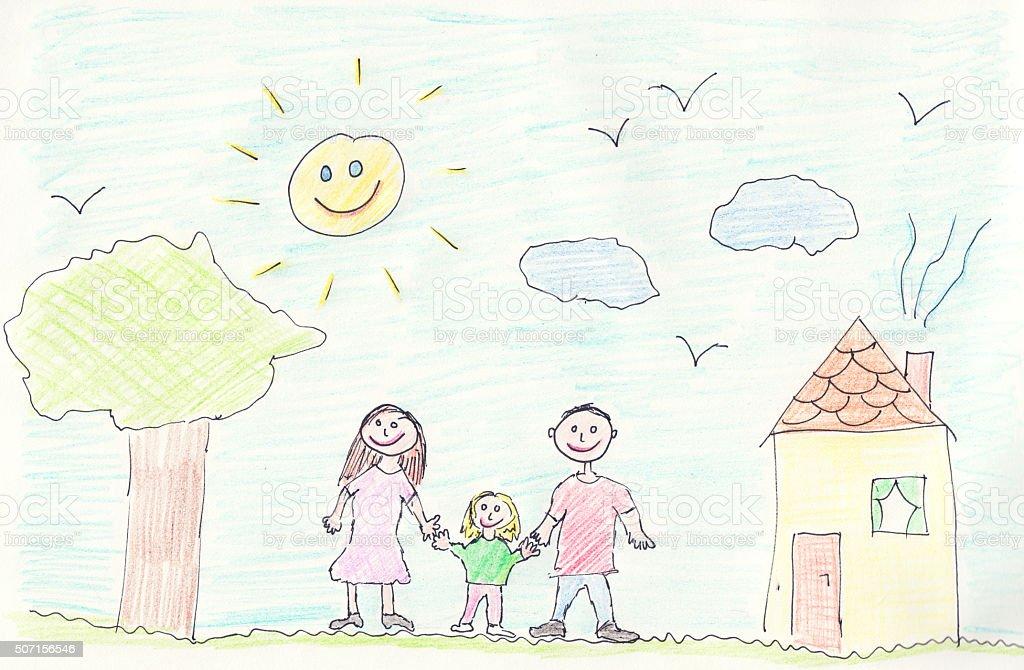 Hand drawn family illustration vector art illustration