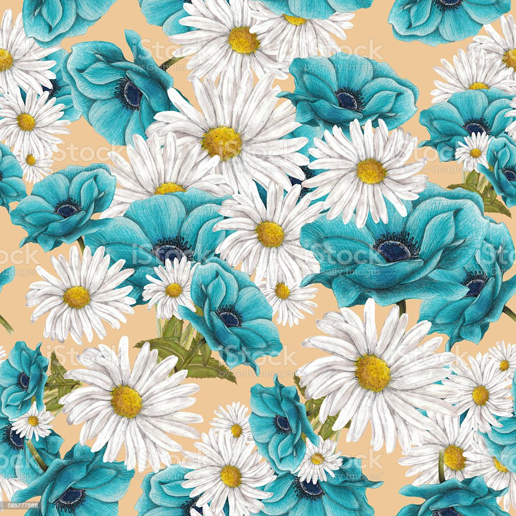 Hand drawn floral seamless pattern vector art illustration