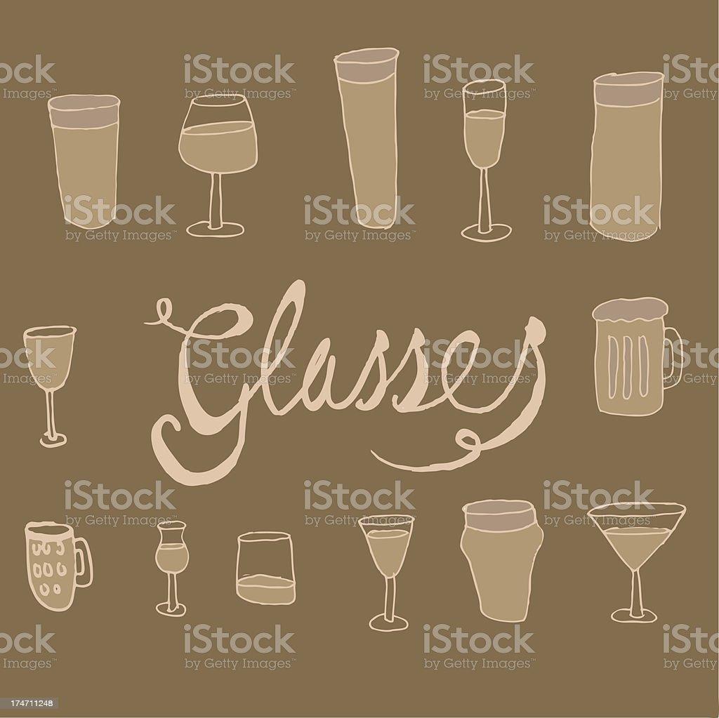 Hand drawn glasses royalty-free stock vector art
