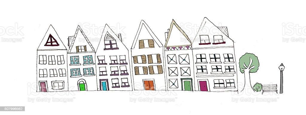 Hand drawn house facades vector art illustration