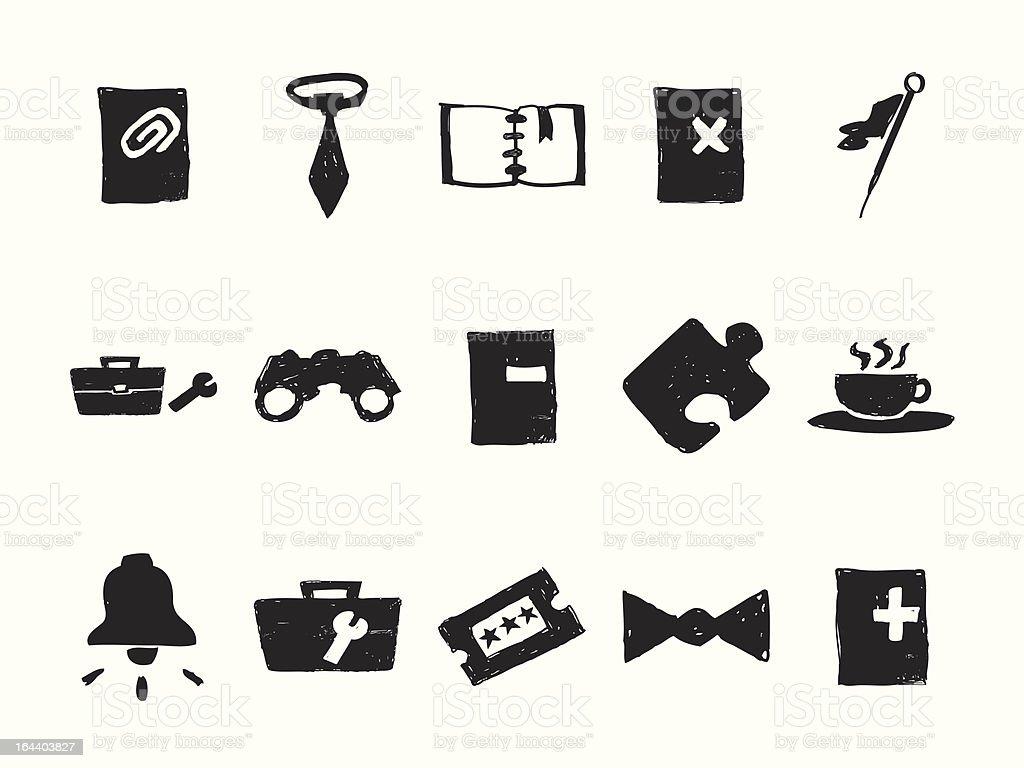 Hand Drawn Icons royalty-free stock vector art