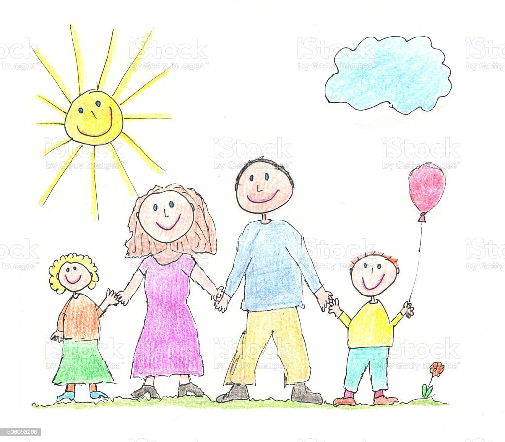 Hand drawn illustration of a happy family vector art illustration