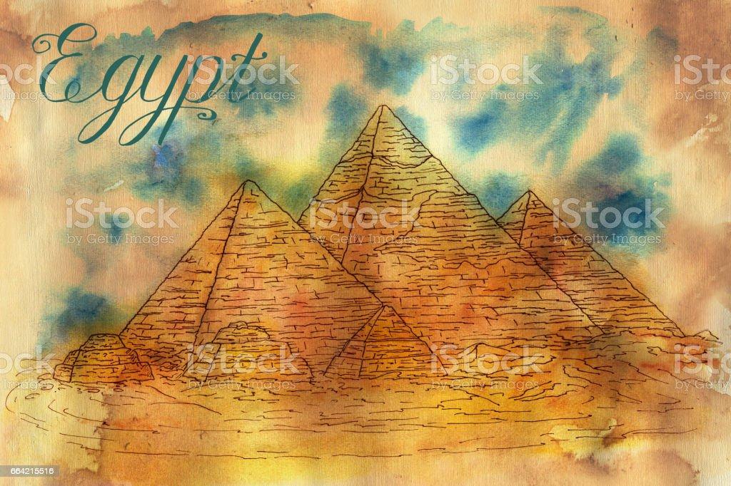 Hand drawn illustration of Giza pyramids vector art illustration