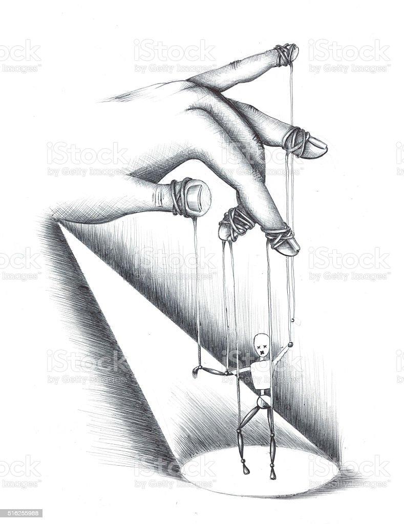 hand drawn  illustration of puppet vector art illustration
