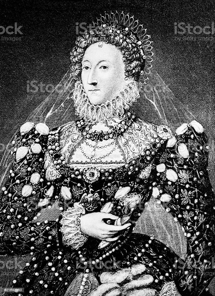 Hand drawn illustration of Queen Elizabeth I vector art illustration