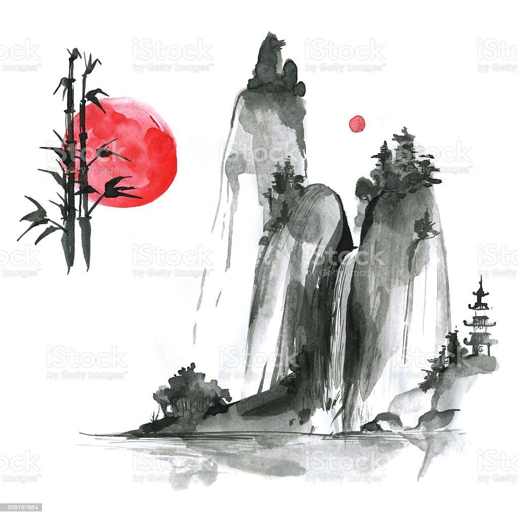 Hand drawn ink sumi-e elements: landskype, sun, bamboo. Japan tr vector art illustration