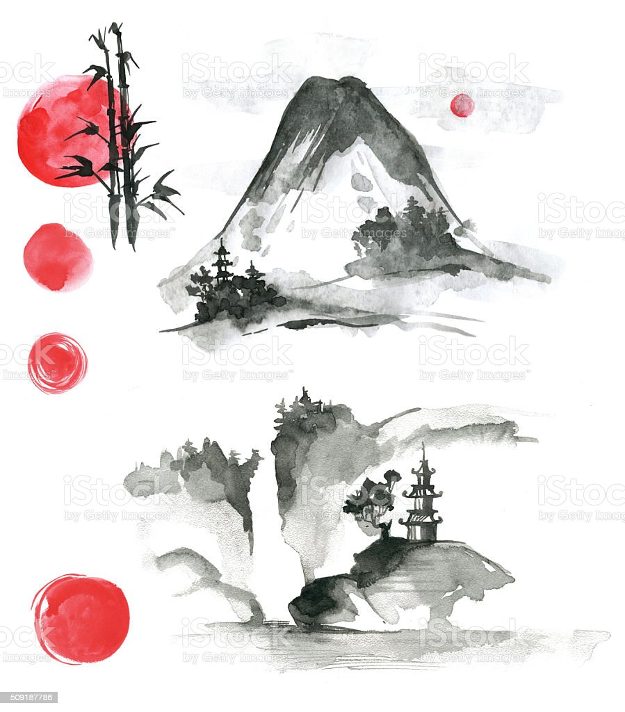 Hand drawn ink sumi-e elements: landskype, sun, temple, bamboo, vector art illustration