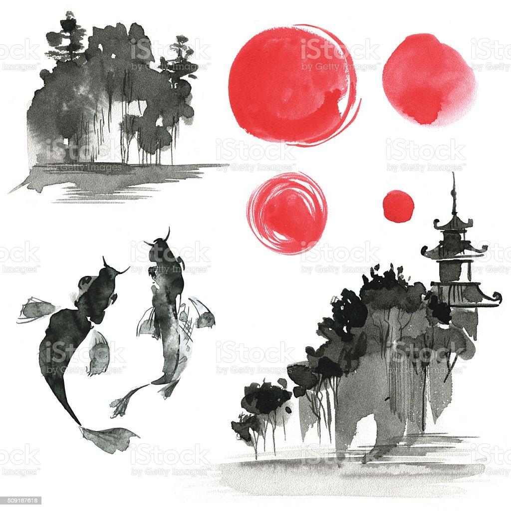 Hand drawn ink sumi-e elements: landskype, sun, temple, fich. Ja vector art illustration