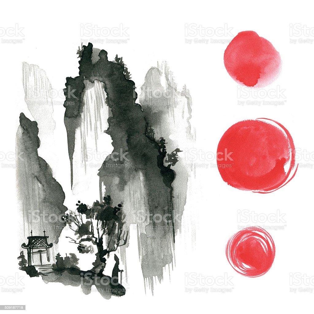 Hand drawn ink sumi-e elements: landskype, sun, temple, wanderer vector art illustration