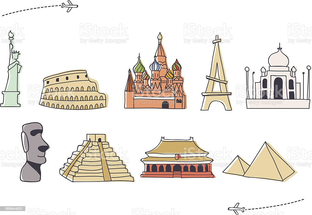 Hand drawn International Landmark Icon Set (1) vector art illustration