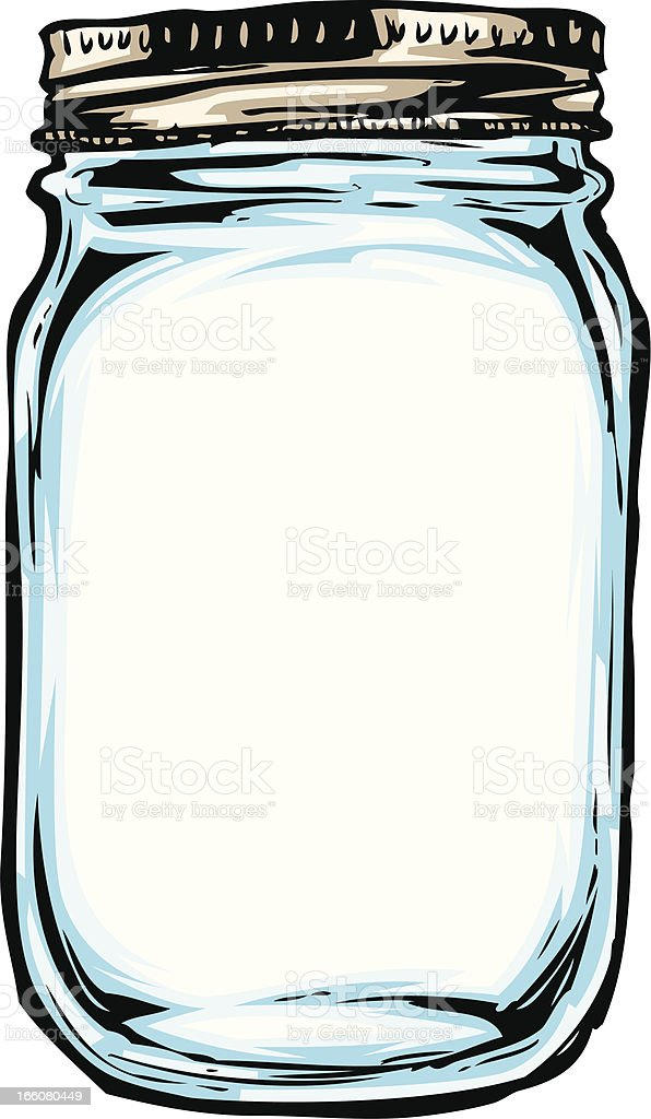 hand drawn mason jar vector art illustration