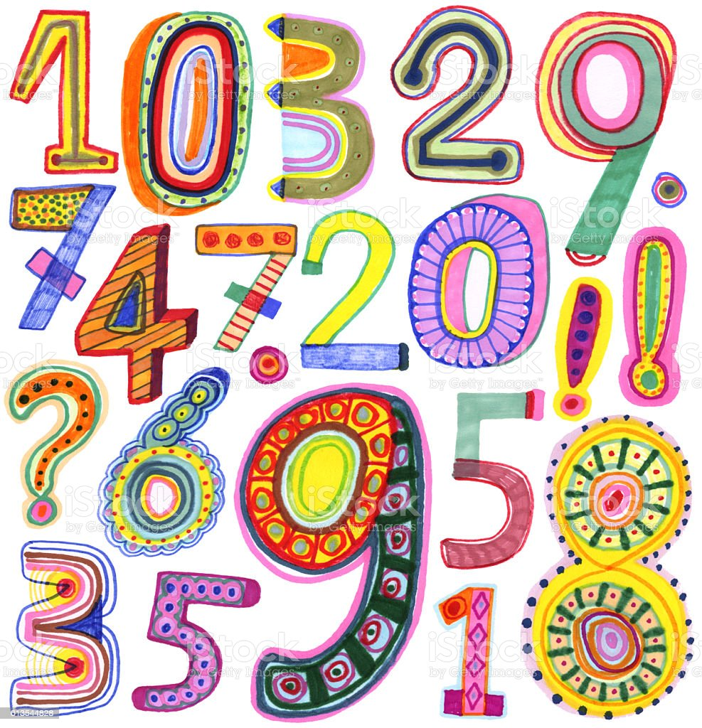 Hand drawn numbers vector art illustration