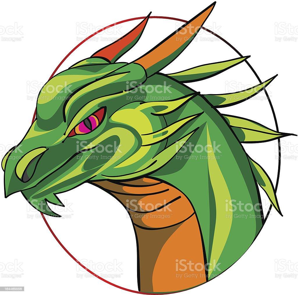 hand drawn of a green dragon head royalty-free stock vector art