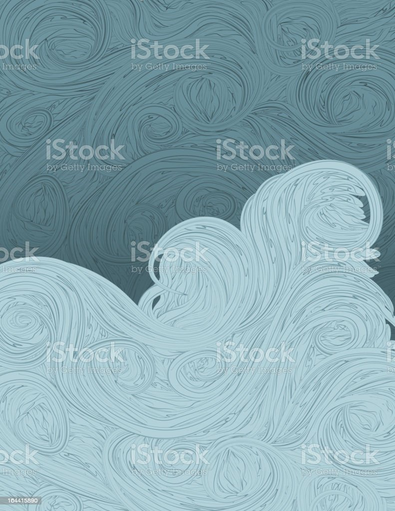 Hand Drawn ornate blue background royalty-free stock vector art