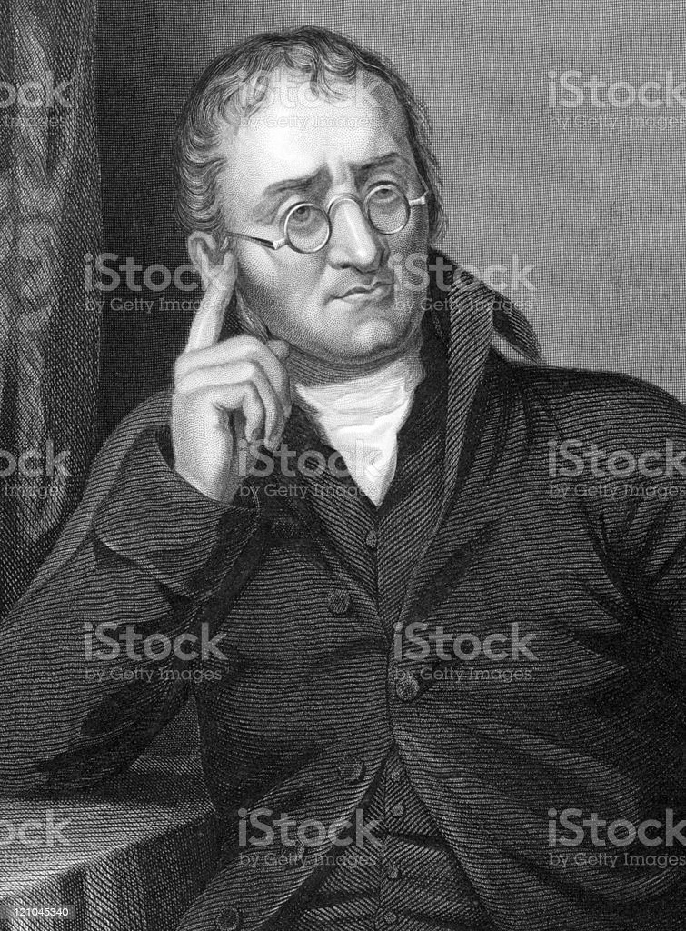 Hand drawn portrait illustration of John Dalton royalty-free stock vector art