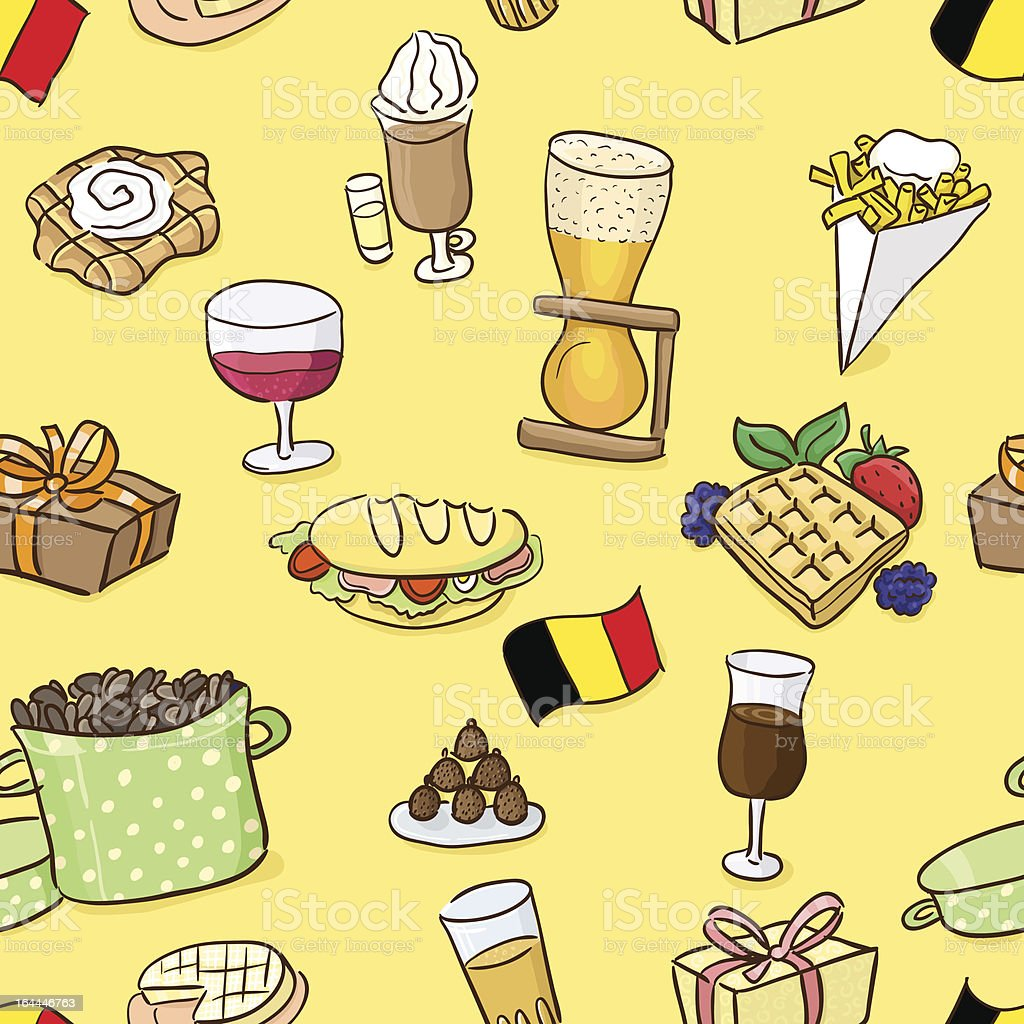 Hand drawn seamless pattern: belgian traditional food and beer. vector art illustration