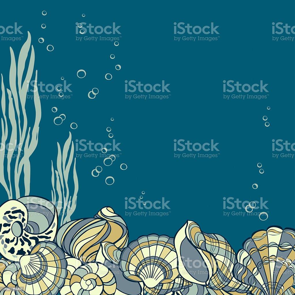 Hand drawn seashells, seaweed andbubbles card vector art illustration