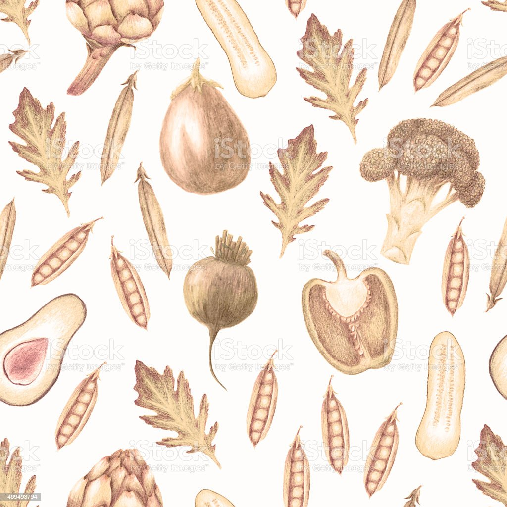 Hand drawn sepia monochrome vegetable seamless pattern vector art illustration