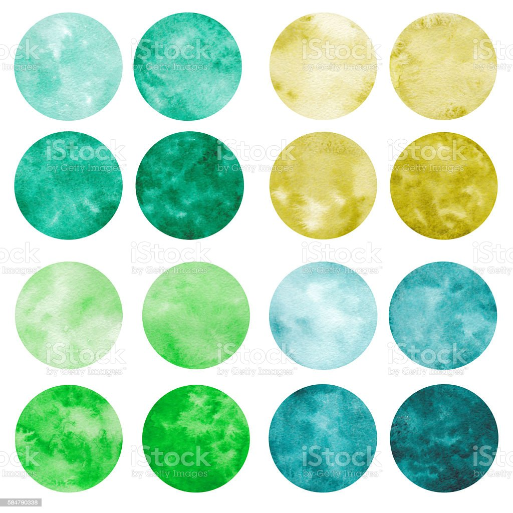 Hand drawn set of green watercolor circles. vector art illustration