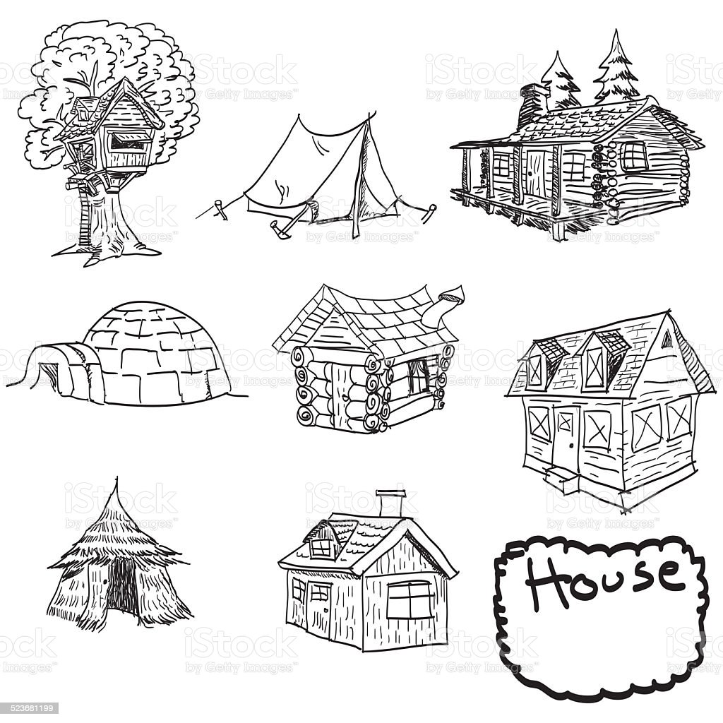 hand drawn set of houses, doodles vector art illustration