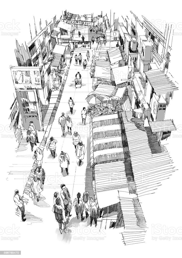 hand drawn sketch of people walking in market street vector art illustration