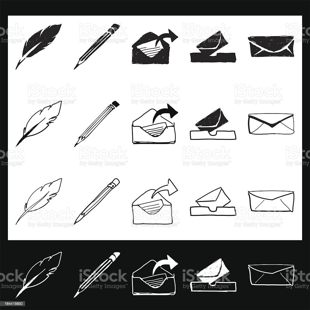 Hand Drawn Stationary Icons With Roll Over States royalty-free stock vector art