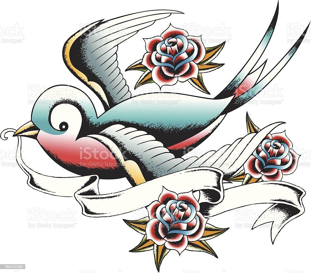 Mano disegnata rondine Tatuaggio illustrazione royalty-free
