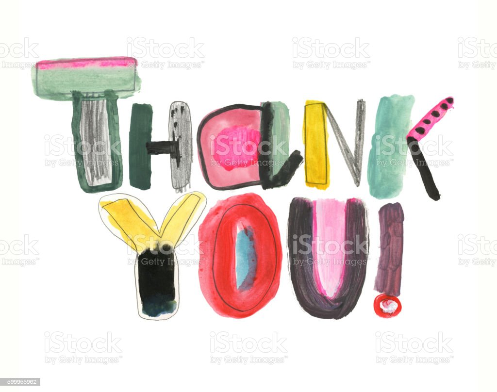 Hand drawn thank you message vector art illustration
