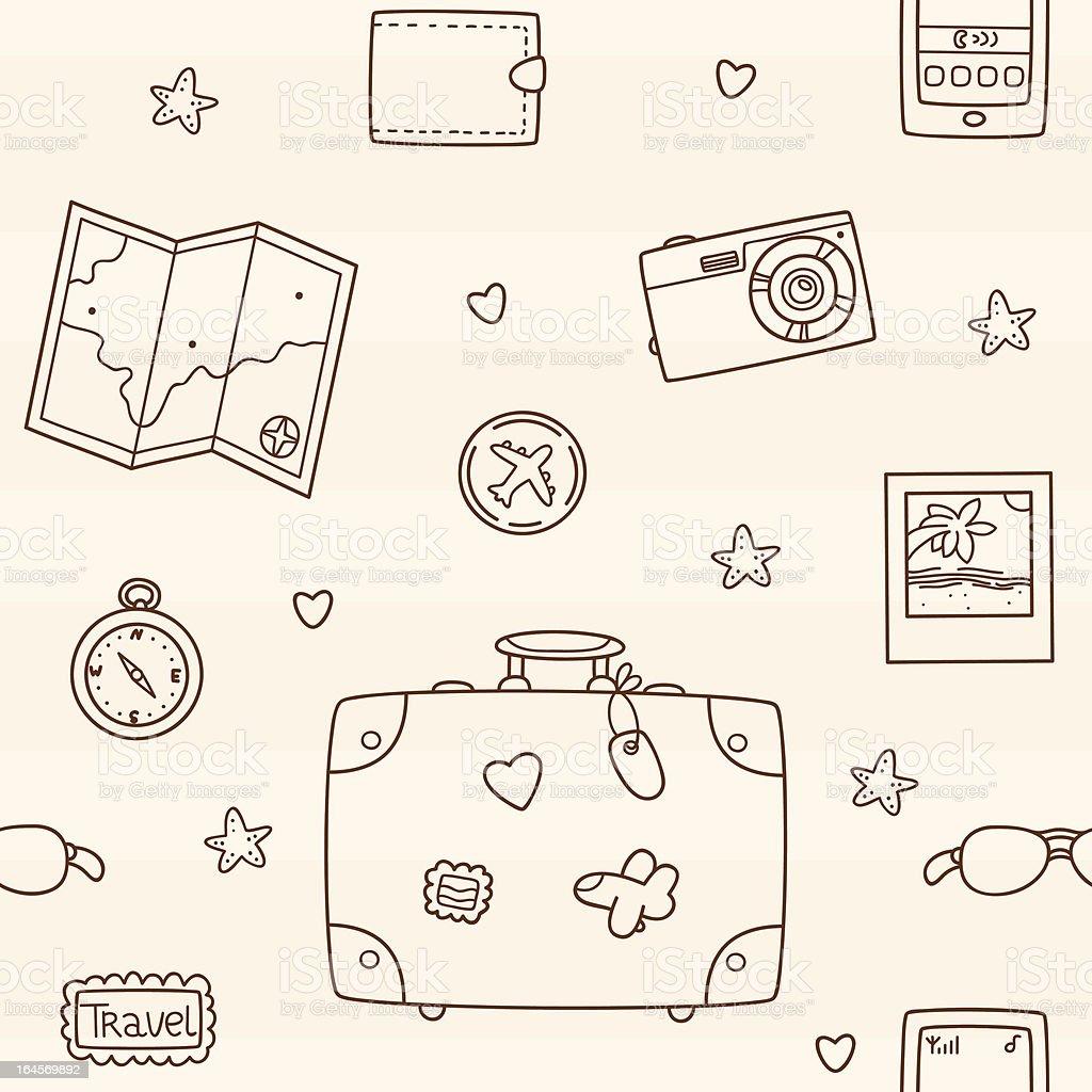 Hand drawn travel pattern royalty-free stock vector art