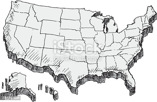 Hand Drawn Us Map Stock Vector Art IStock - Sketch drawing us map