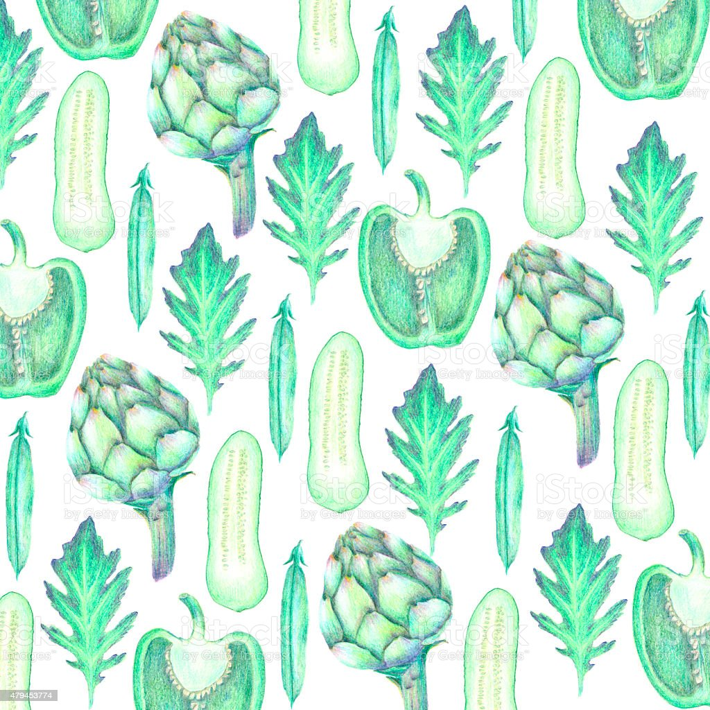 Hand drawn vegetable background in green colors vector art illustration