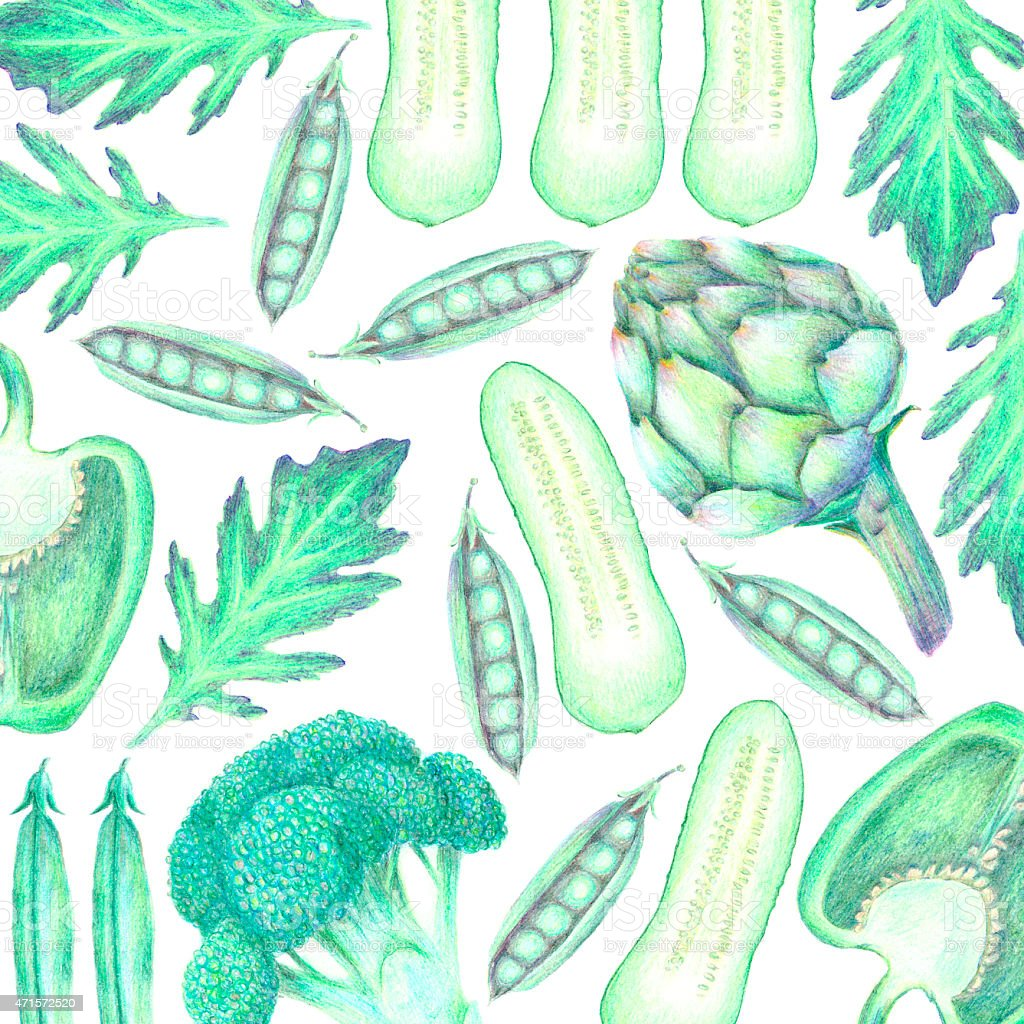 Hand drawn vegetable background in the shades of green vector art illustration