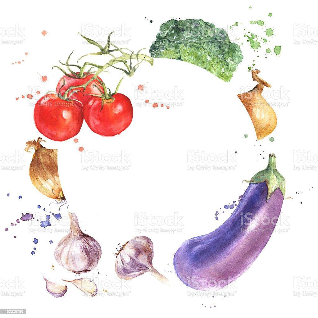 Hand drawn vegetable frame. Aubergine, Broccoli, Garlic, Onion, Tomatoes vector art illustration