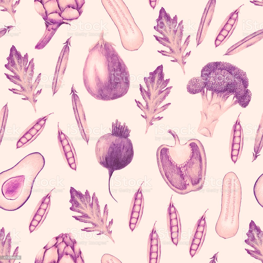 Hand drawn vegetable seamless pattern in sepia brown vector art illustration