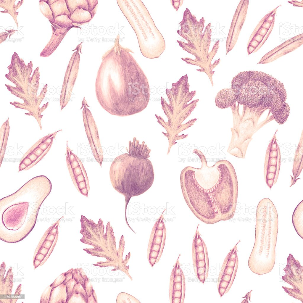 Hand drawn vegetable seamless pattern in sepia color vector art illustration