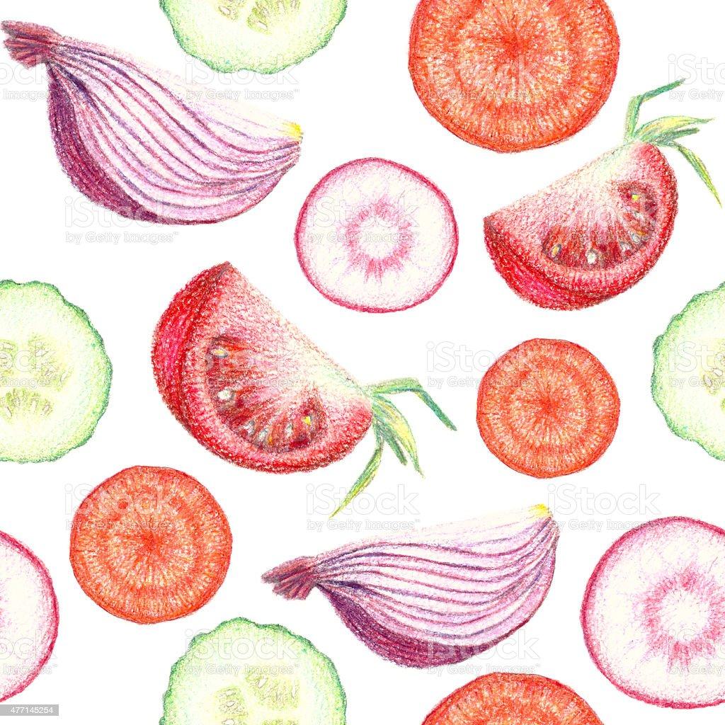 Hand drawn vegetable slice seamless pattern vector art illustration